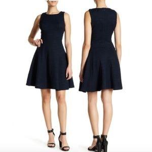 SHARAGANO NWT Navy Tweed Fit & Flare Dress 2P